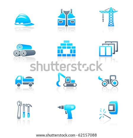 Construction tools, transportation, materials and more vector icon set - stock vector