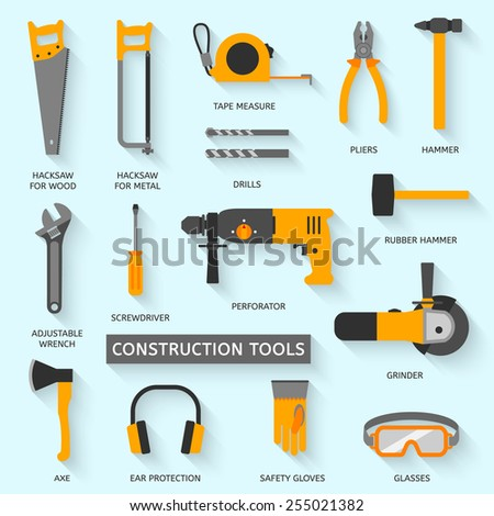Construction tools vector icons set. Hand equipment collection in flat style. - stock vector
