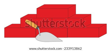 Construction trowel and bricks. Vector illustration. - stock vector