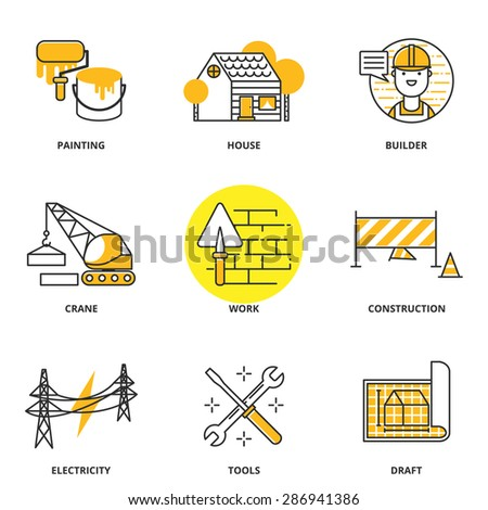 Construction vector icons set: painting, house, builder, crane, work, under construction, electricity, tools, draft. Modern line style - stock vector
