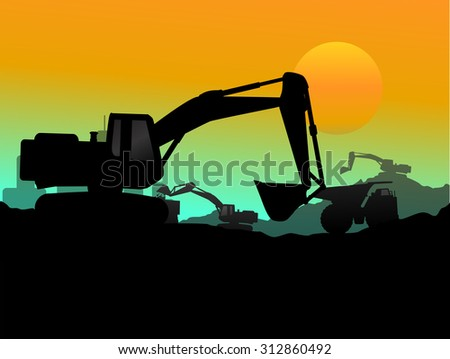 Construction vehicles at site silhouette 7