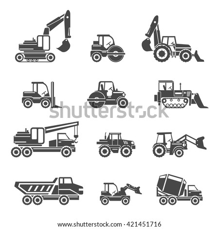 Construction vehicles icons. Vehicle car, machine bulldozer construction, industry vehicle tractor, excavator and tipper, vector illustration - stock vector