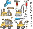 Construction Vehicles Vector Illustration - stock photo