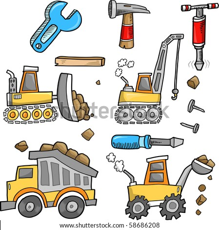 Construction Vehicles Vector Illustration