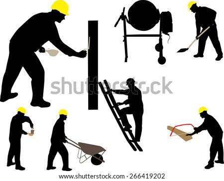 construction work mason vector silhouette - stock vector