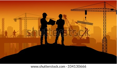 Construction worker at work with worker standing. Vector
