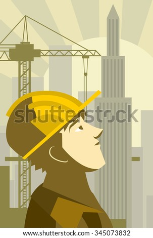 construction worker building a skyscraper - stock vector