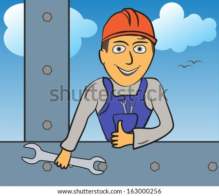 Construction worker builds iron construction, wrench in hand - Vector version - stock vector