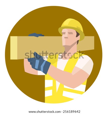 Construction worker carpenter carrying heavy wooden plank on shoulder - stock vector