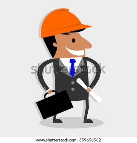 Construction worker, Engineer or Architect With Suitcase And Project Blueprints Character - stock vector
