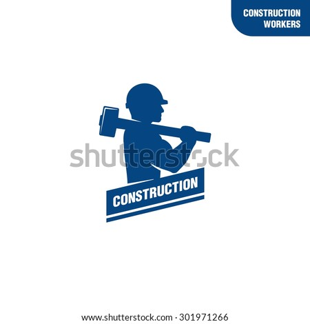 Construction worker holding sledge hammer  - stock vector
