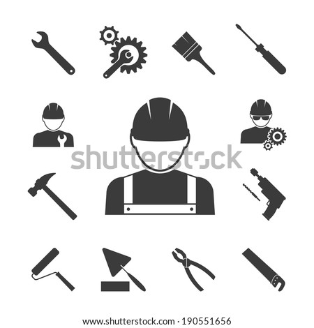 construction worker icons: hammer, pliers, saws and drill - stock vector