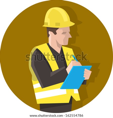 Construction worker in safety vest checking a project list or doing safety check. Isolated vector illustration - stock vector