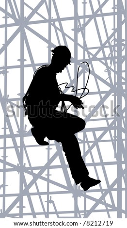 Construction worker is climbing on metal scaffolding. Silhouette. - stock vector