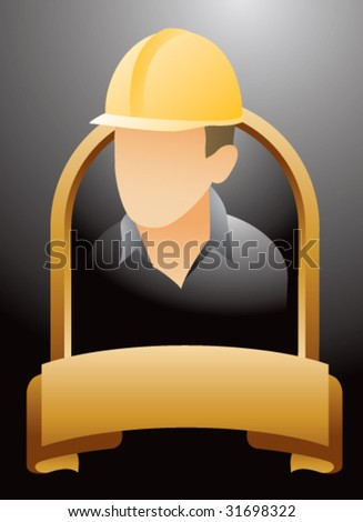 construction worker on gold display - stock vector