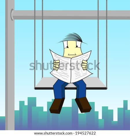 Construction worker on high, seated on a scaffold and reading a newspaper. Construction worker reading a newspaper - stock vector