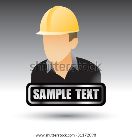 construction worker on nameplate - stock vector