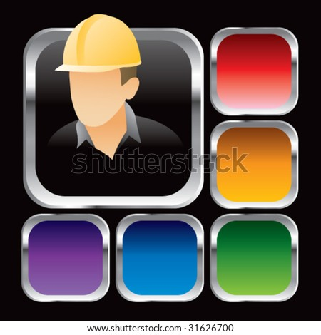 construction worker on square colored web buttons - stock vector