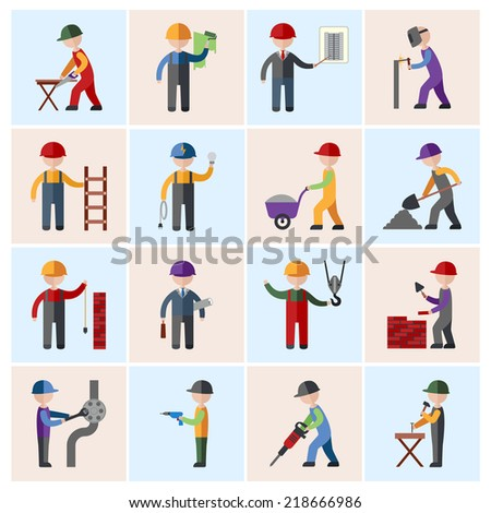 Construction worker people silhouettes icons flat set isolated vector illustration - stock vector