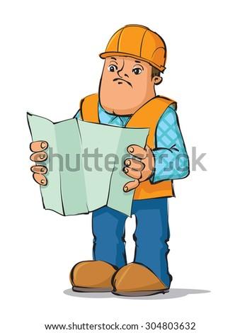 Construction worker reading plan, vector Illustration - stock vector