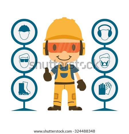 construction worker repairman thumb up safety stock vector royalty