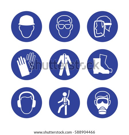safety wear signs goggles harness helmet stock vector