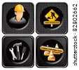 Construction worker, signs, and tools in black square web buttons - stock photo