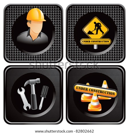 Construction worker, signs, and tools in black square web buttons - stock vector