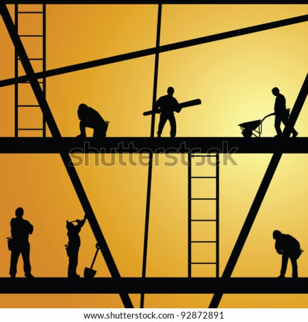 construction worker silhouette at work vector illustration - stock vector