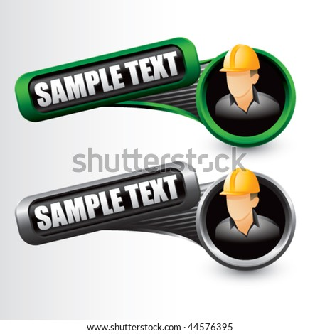 construction worker tilted green and gray banners - stock vector