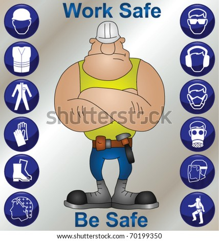 Construction worker wearing personal protection equipment and safety icons - stock vector