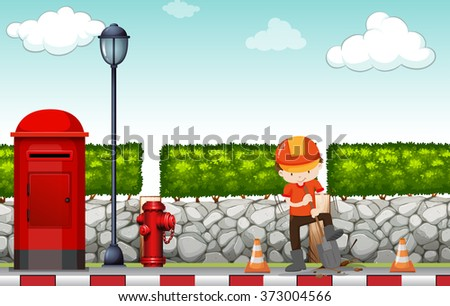 Construction worker working on the sidewalk illustration - stock vector