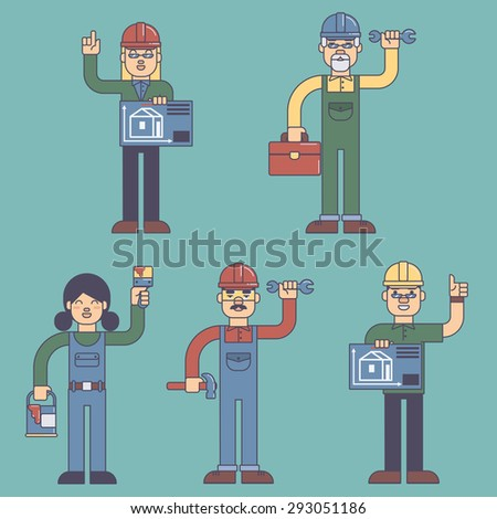 Construction workers builders architects people esp10 - stock vector