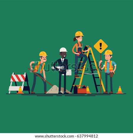 Construction workers crew. Cool vector character design on construction or maintenance process. Digging worker, engineer with blueprints, worker with signpost and female worker on ladder