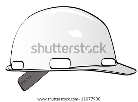 construction workers hard hat on white - vector - stock vector