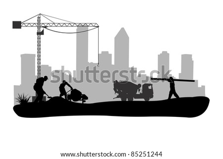 construction workers illustration - stock vector