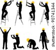 construction workers silhouettes - vector - stock photo