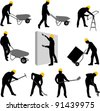 construction workers silhouettes 2 - vector - stock photo