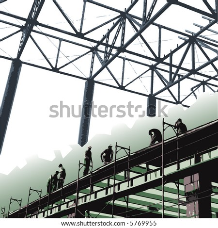 Construction workers - vector - stock vector