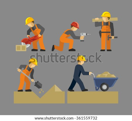 Construction Workers Vector. Man working with shovel. Male Construction Worker using a concrete cutter tool. Man Pushing a wheelbarrow of sand.  - stock vector