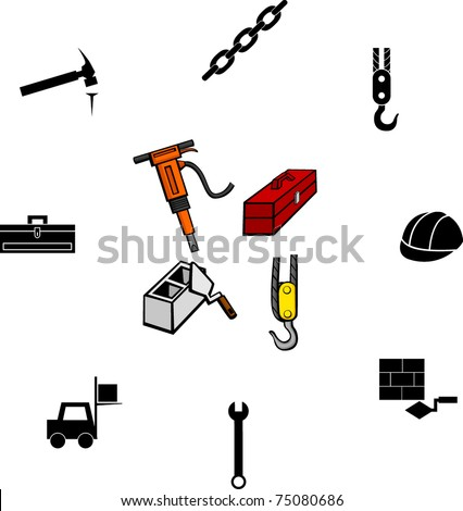 construction working illustrations and symbols set - stock vector