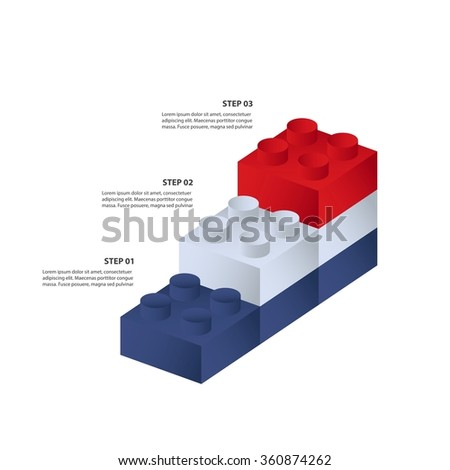 Constructor building bricks - 3 steps to success - Vector infographic template - stock vector