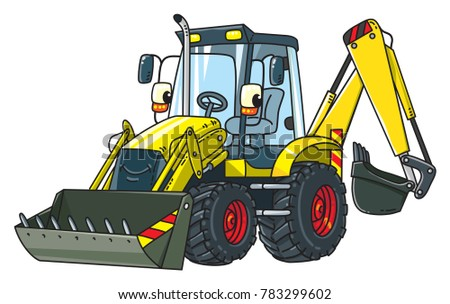 Constuction tractor with bucket. Small funny vector cute car with eyes and mouth. Children vector illustration