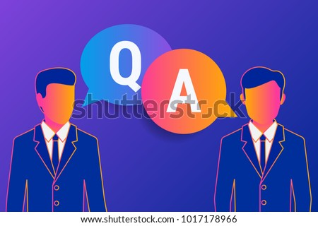 Consulting business advise. Businessman and consultant with speech bubbles and letters q and a. Gradient line vector illustration of consult expert for financial and analytics support and advice.