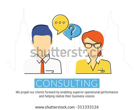 Consulting business flat contour illustration of business woman and male consultant with speech bubbles. Text is outlined. Free fonts Lato and Roboto Condensed - stock vector