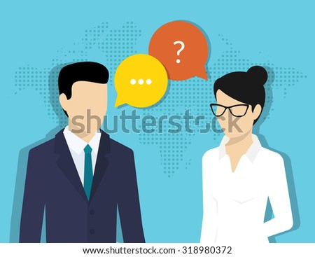 Consulting business. Flat illustration of business woman and male consultant with speech bubbles - stock vector