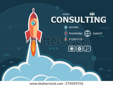 Consulting design and concept background with rocket. Consulting design concepts for web banner and printed materials. - stock vector