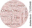 CONSULTING. Word collage on white background. Vector illustration. Illustration with different association terms. - stock photo