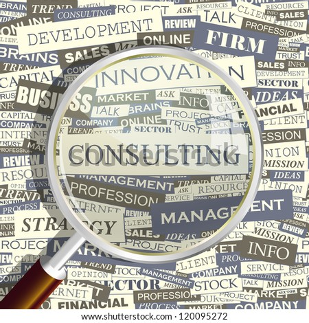 CONSULTING. Word collage. Vector illustration.