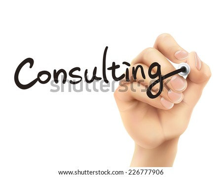 consulting word written by 3d hand over white background - stock vector